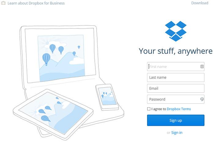 ایجاد اکانت DropBox